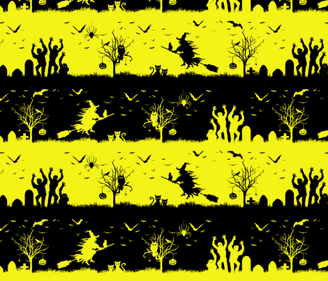 Cats Eye Yellow and Black Halloween Nightmare Stripes  fabric by paper_and_frill on Spoonflower - custom fabric