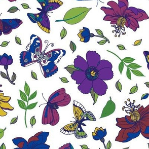 Passion flowers and butterflies - pink and purple on white