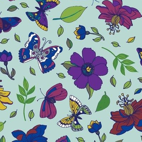 Passion flowers and butterflies - pink and purple on sky blue