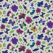 Passion flowers and butterflies - pink and purple on grey