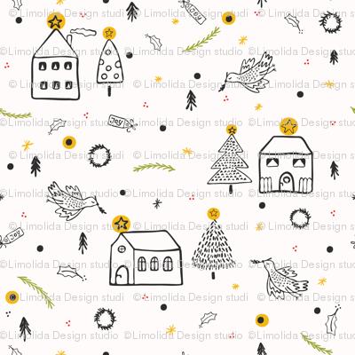 White Christmas Village Church House