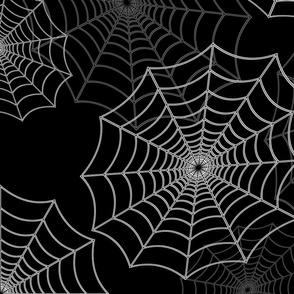 White Spider Web Cobweb Silk Pattern on Black