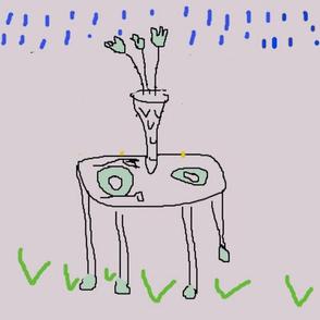 table w/ vase