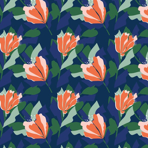 Bold Floral Pattern in Orange and Green on a Navy Base