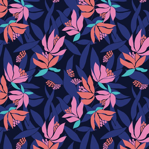 Midnight blue floral pattern with contrasting pinks and oranges