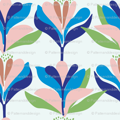Bold, stylised, Scandinavian inspired floral pattern