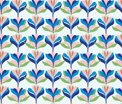 Bold, stylised, Scandinavian inspired floral pattern  fabric by patternanddesign on Spoonflower - custom fabric