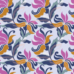 Bold and contemporary floral pattern on a mauve base
