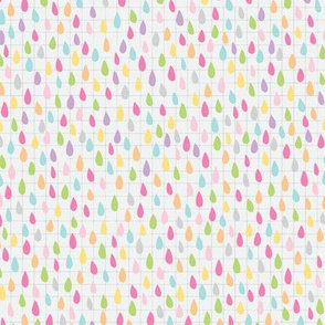 Rainbow Raindrops in Light Grey
