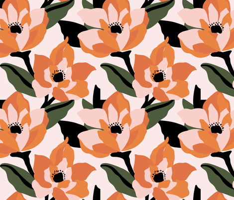 Bold orange poppy on a soft pink base fabric by patternanddesign on Spoonflower - custom fabric