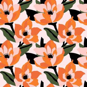 Bold orange poppy on a soft pink base