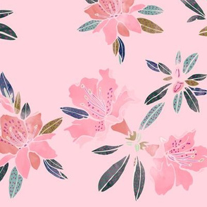 Watercolor Azaleas, Pink, large