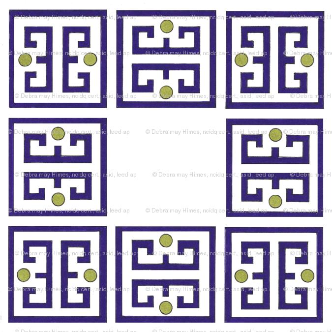 Purple Fret Border Giftwrap Debramayhimesasid Spoonflower