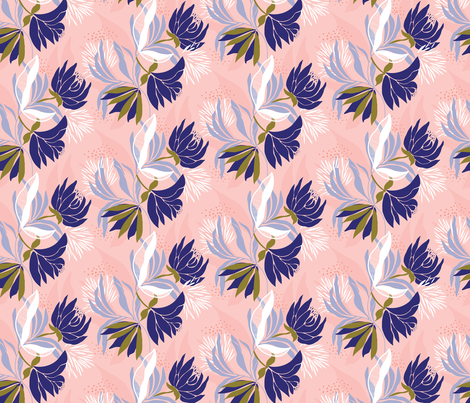 Soft, delicate, feminine blue floral on a pink base fabric by patternanddesign on Spoonflower - custom fabric