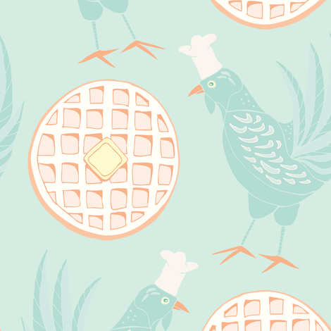 Chicken and Waffles, Green- Large   fabric by katie_hayes on Spoonflower - custom fabric