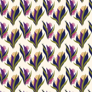 Modern stylised floral pattern on a cream base