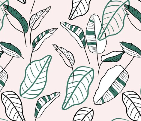 banana leaves on blush - large scale fabric by tarareed on Spoonflower - custom fabric