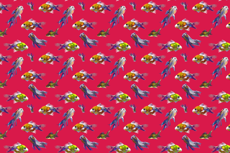 GOLD FISH PAINTING ON HOT PINK WITH LINES fabric by wxstudio on Spoonflower - custom fabric