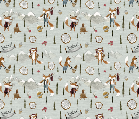 Lumberjack Fox fabric by little_pine_artistry on Spoonflower - custom fabric