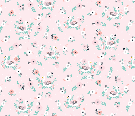 Swans in Bloom in pink fabric by tatiabaurre on Spoonflower - custom fabric