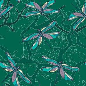 Go tropical dragonflies green