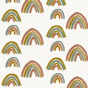 watercolor rainbows - terracotta mustard green