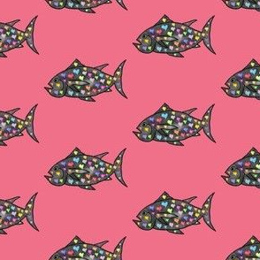 "FI_7509_B ""Mr Curious Fish"" Grey with colorful hearts on dark salmon pink"