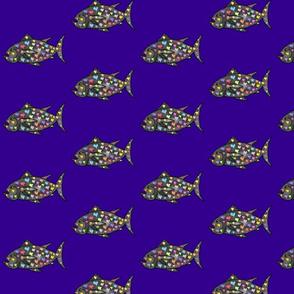 "FI_7509_C ""Mr Curious Fish"" Grey with colorful hearts on dark indigo blue"