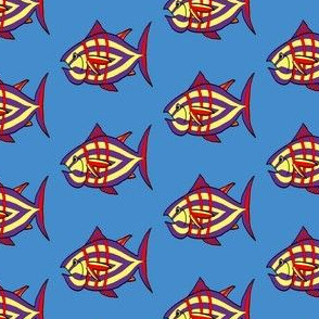 """FI_7512_B """"I'm Hungry Fish"""" of purple and yellow, red and three stripes on blue"""