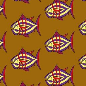 "FI_7512_C ""I'm Hungry Fish"" of purple and yellow, red and three stripes on Mahogany brown"
