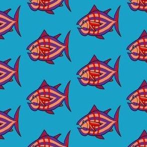 "FI_7512_E ""I'm Hungry Fish"" of orange, purple, red, three stripes on azure blue"