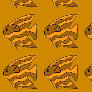 FI_7513_P Angel Fish brown and orange striped on ochre background