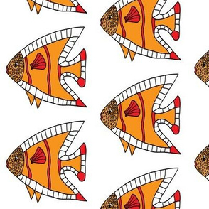 FI_7514_A Angel Fish Dots and Stripes orange and red on white