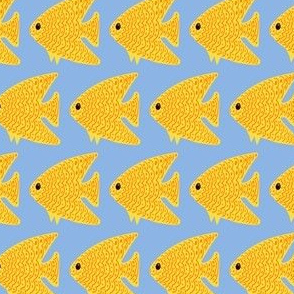 FI_7515_E Angel Fish with wavy lines and dots red with yellow on baby blue