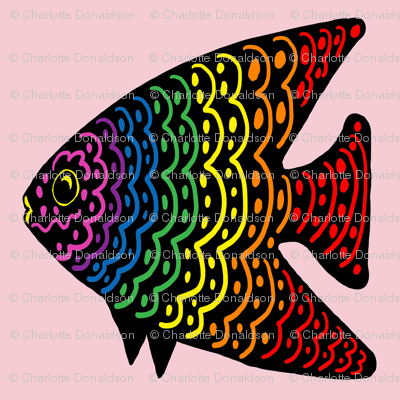 FI_7515_Q Angel Fish with wavy lines and dots red with rainbow colors on pink