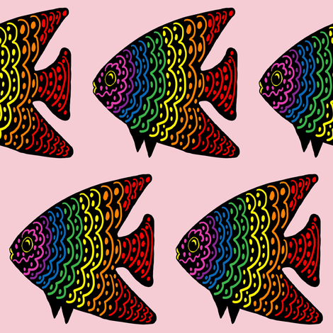 FI_7515_Q Angel Fish with wavy lines and dots red with rainbow colors on pink fabric by zarrika_fabrics on Spoonflower - custom fabric
