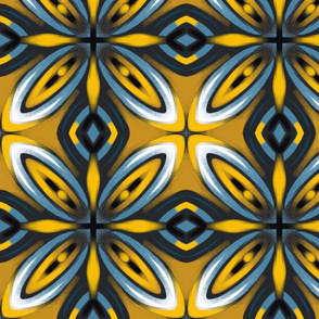 Tiles mustard yellow blue