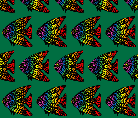 FI_7515_S Angel Fish with wavy lines and dots red with rainbow colors on green fabric by charlotte_donaldson_fabrics on Spoonflower - custom fabric