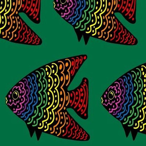 FI_7515_S Angel Fish with wavy lines and dots red with rainbow colors on green