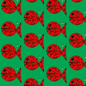 """FI_7516_B """"Deck the Halls with Bells of Holly Fish"""" red fish with emerald hunter green holly on green"""