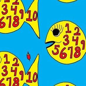 FI_7519_B  hand drawn, whimsical, numbers, 1-10, black, turquoise, fish, ocean, nautical