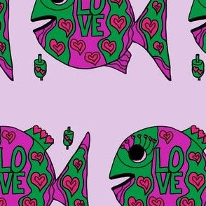 "FI_7520_A ""Love and Heart Fish"" Green and hot pink fish on pale pink"
