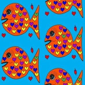 "FI_7523_F ""Heart Fish"" yellow, purple, blue, green hearts on vermillion orange fish and azure blue background"