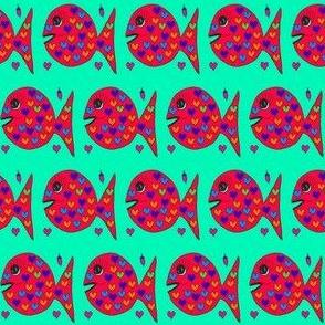 "FI_7523_M ""Heart Fish"" yellow, purple, blue, green hearts on vermillion orange fish and blue background"