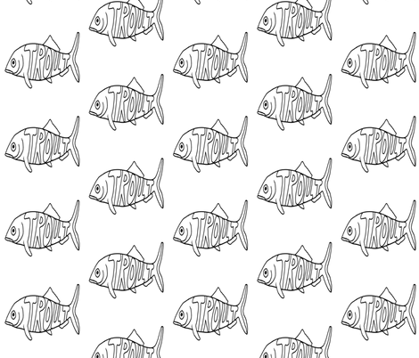 """FI_7526__L """"Big Trout"""" black and white fabric by charlotte_donaldson_fabrics on Spoonflower - custom fabric"""