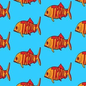 "FI_7526_E ""Big Trout"" red letters on orange trout with blue background"