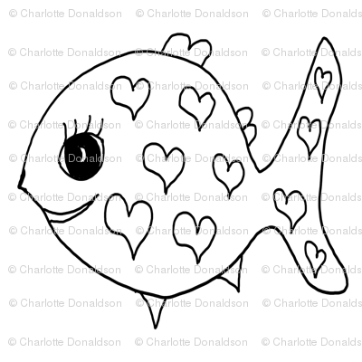 """FI_7535__L """"Heart Mini Fish"""" black and white"""
