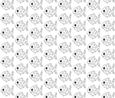 "FI_7535__L ""Heart Mini Fish"" black and white fabric by charlotte_donaldson_fabrics on Spoonflower - custom fabric"