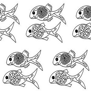 "FI_7540__L ""Duo Flower Fish"" black and white"