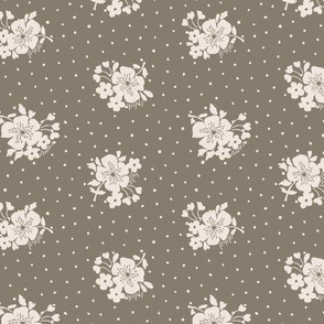 Bloom and dots on brown
